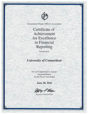Certificat of Achievement for Excellence in Financial Reporting 6-30-16