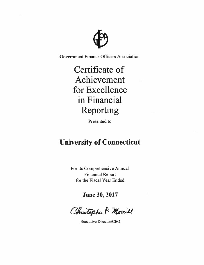 Certificat of Achievement for Excellence in Financial Reporting 6-30-17